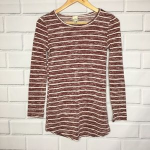 Cover Stitched Striped Elbow Patch Long Sleeve Top